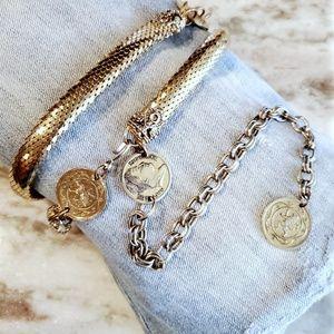 Whiting & Davis Vintage Gold Coins Snake Belt L/XL